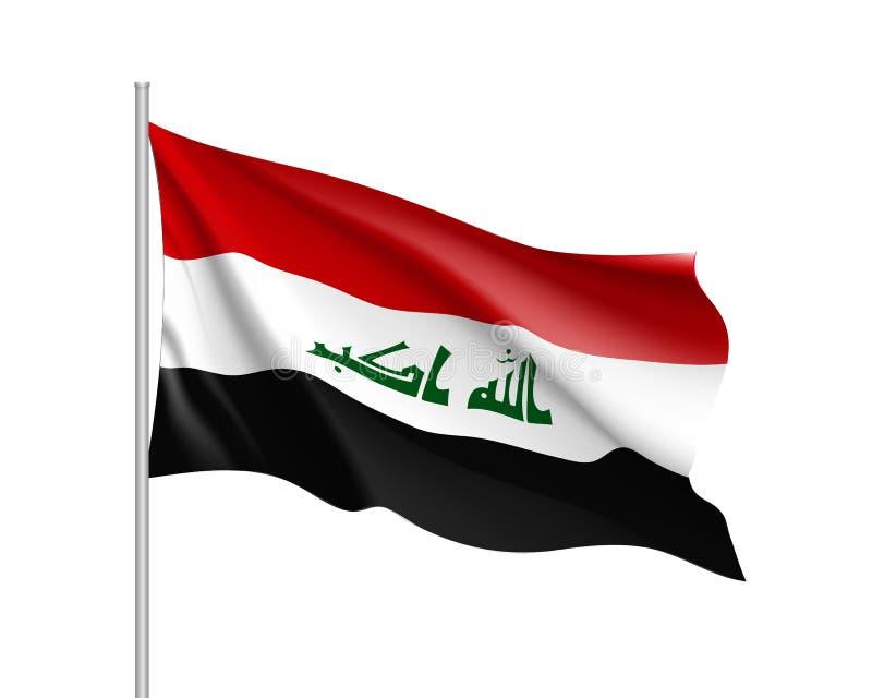 Drapeau national de l'Irak, illustration réaliste de vecteur illustration libre de droits