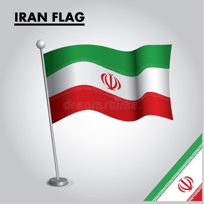 Drapeau national de drapeau de l'IRAN de l'IRAN sur un poteau illustration de vecteur