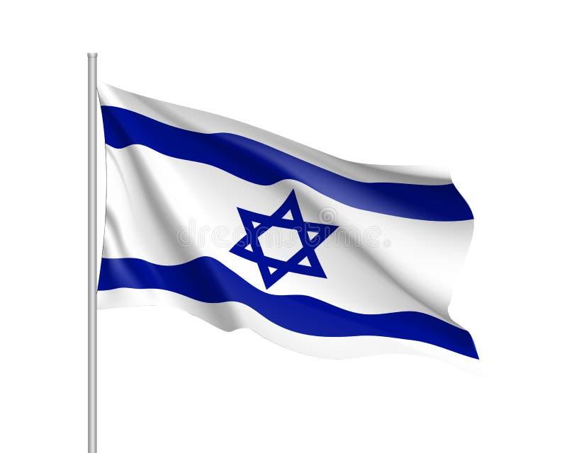 Drapeau national de l'Israël, illustration réaliste de vecteur illustration de vecteur