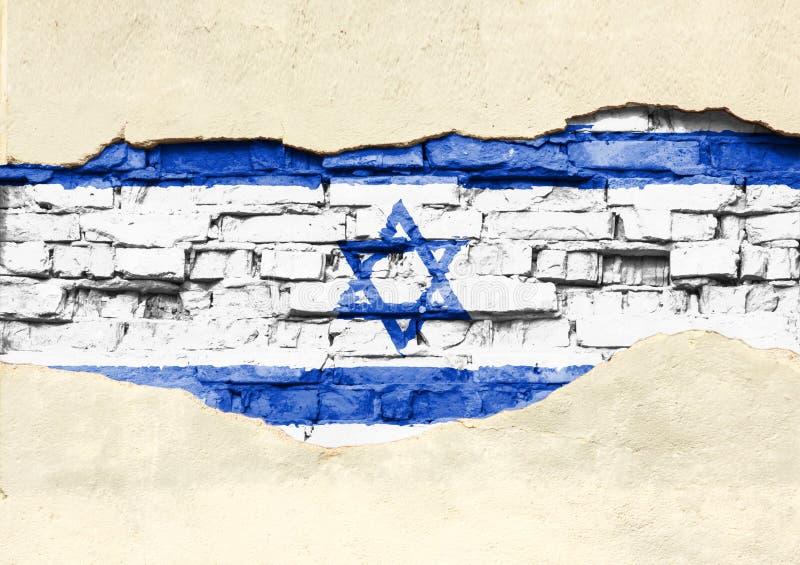 Drapeau national de l'Israël sur un fond de brique Mur de briques avec le plâtre, le fond ou la texture partiellement détruit illustration de vecteur