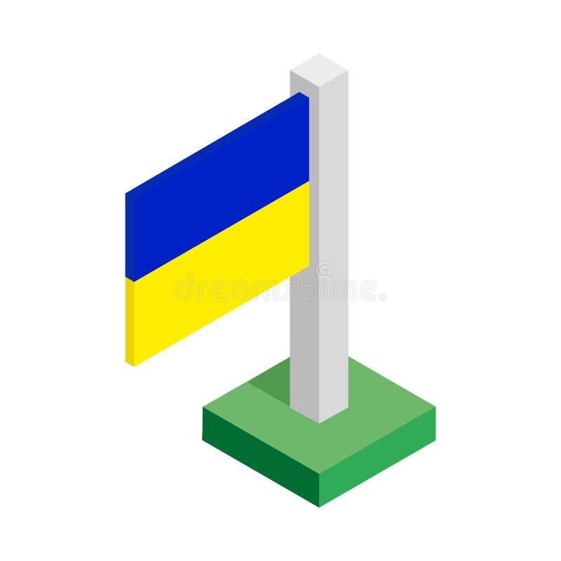 Drapeau national de l'Ukraine sur le mât de drapeau dessiné dans la vue isométrique photo stock