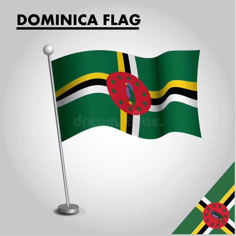 Drapeau national de drapeau de la DOMINIQUE de la DOMINIQUE sur un poteau illustration de vecteur
