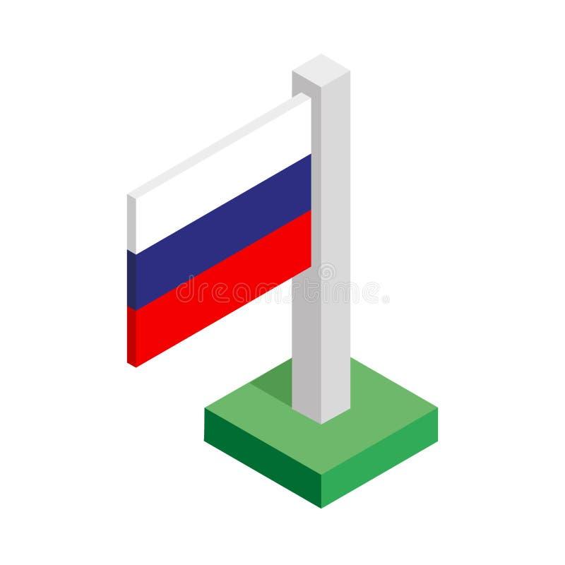 Drapeau national de la Fédération de Russie sur le mât de drapeau dessiné dans la vue isométrique photographie stock libre de droits