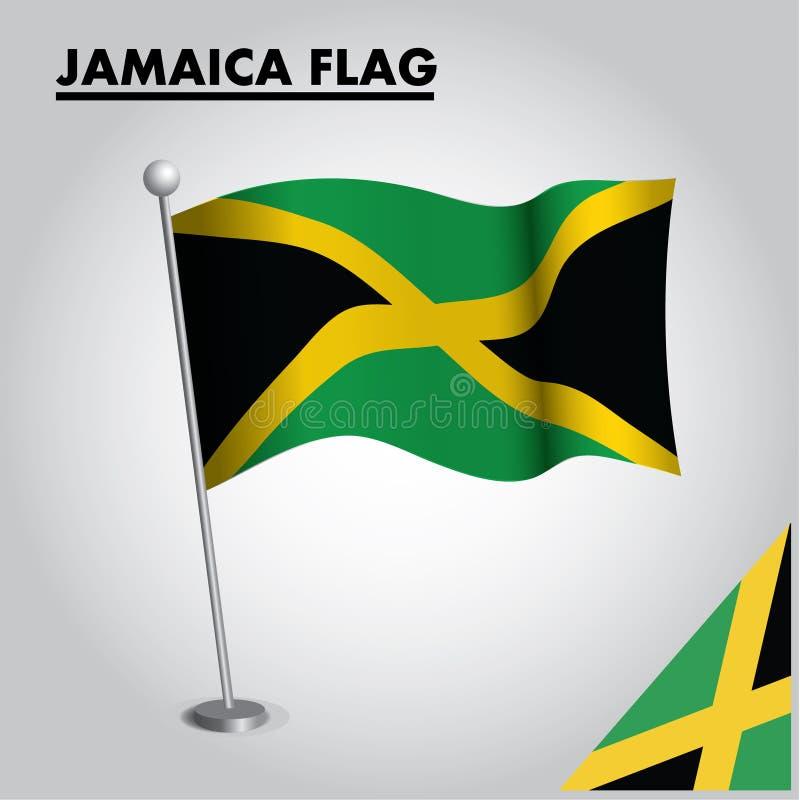 Drapeau national de drapeau de la JAMAÏQUE de la JAMAÏQUE sur un poteau illustration libre de droits