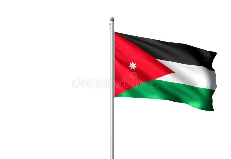 Drapeau national de la Jordanie ondulant l'illustration 3d réaliste d'isolement de fond blanc illustration de vecteur