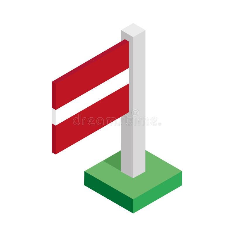 Drapeau national de la Lettonie sur le mât de drapeau dessiné dans la vue isométrique images stock