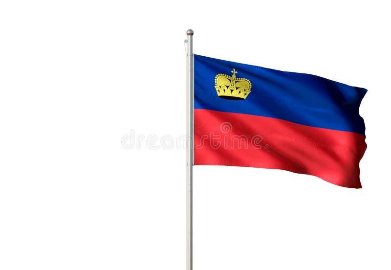 Drapeau national de la Liechtenstein ondulant l'illustration 3d réaliste d'isolement de fond blanc illustration de vecteur