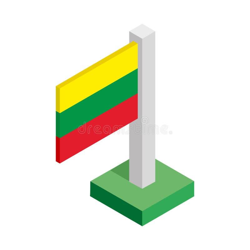 Drapeau national de la Lithuanie sur le mât de drapeau dessiné dans la vue isométrique image libre de droits
