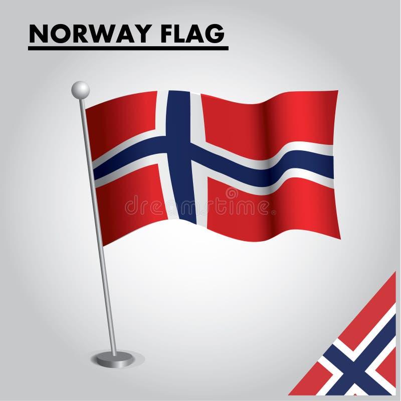 Drapeau national de drapeau de la NORVÈGE de la NORVÈGE sur un poteau illustration stock