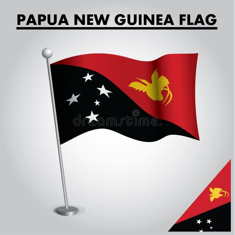 Drapeau national de drapeau de la PAPOUASIE-NOUVELLE-GUINÉE de la PAPOUASIE-NOUVELLE-GUINÉE sur un poteau illustration stock