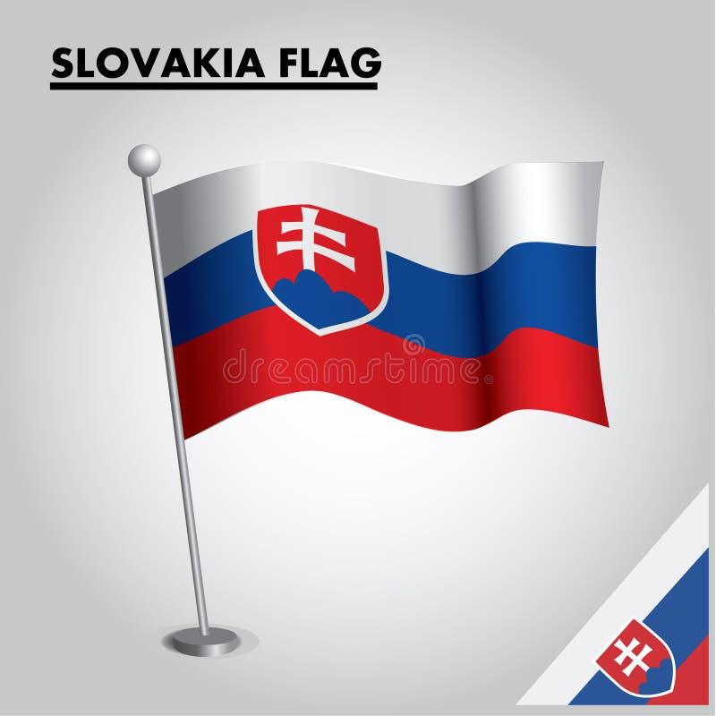 Drapeau national de drapeau de la SLOVAQUIE de la SLOVAQUIE sur un poteau illustration stock