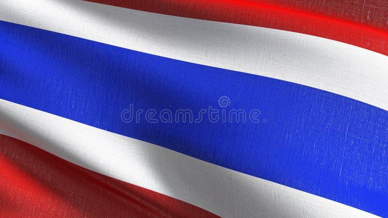 Drapeau national de la Thaïlande soufflant dans le vent Conception abstraite patriotique officielle illustration du rendu 3D de s illustration stock