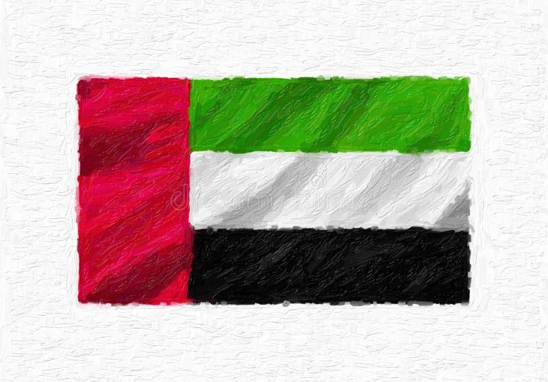 Drapeau national de ondulation peint à la main des Emirats Arabes Unis, douleur d'huile illustration de vecteur