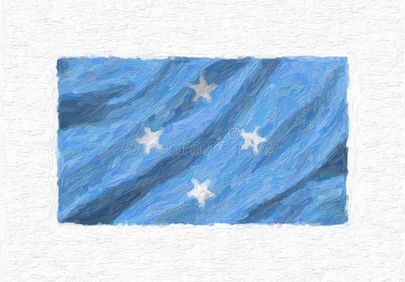 Drapeau national de ondulation peint à la main des Etats fédérés de Micronésie illustration de vecteur