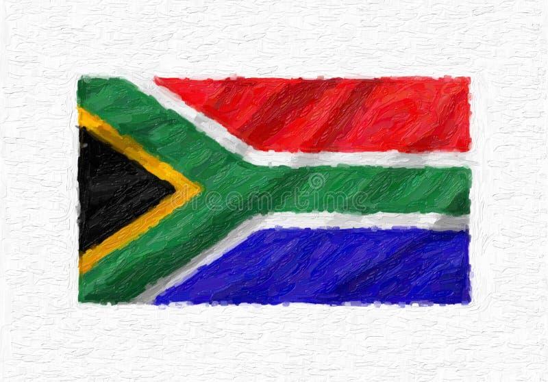 Drapeau national de ondulation peint à la main de l'Afrique du Sud, isolat de peinture à l'huile illustration de vecteur