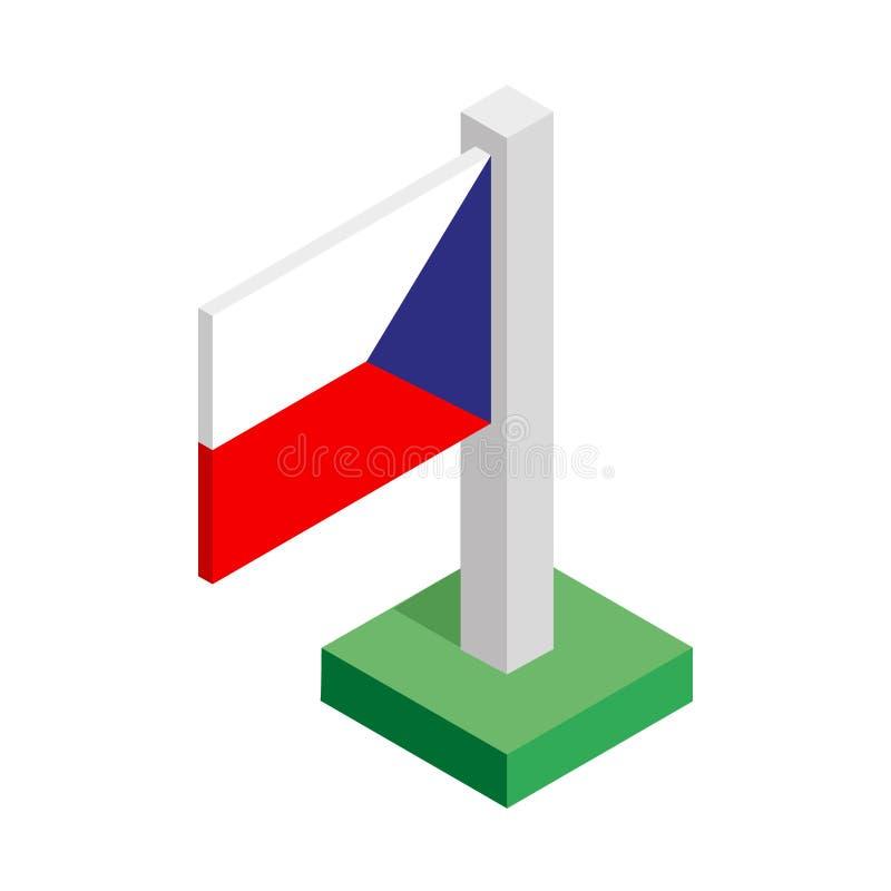 Drapeau national de République Tchèque sur le mât de drapeau dessiné dans la vue isométrique photos stock