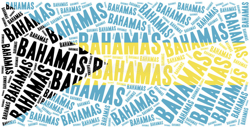 Drapeau national des Bahamas Illustration de nuage de Word illustration stock