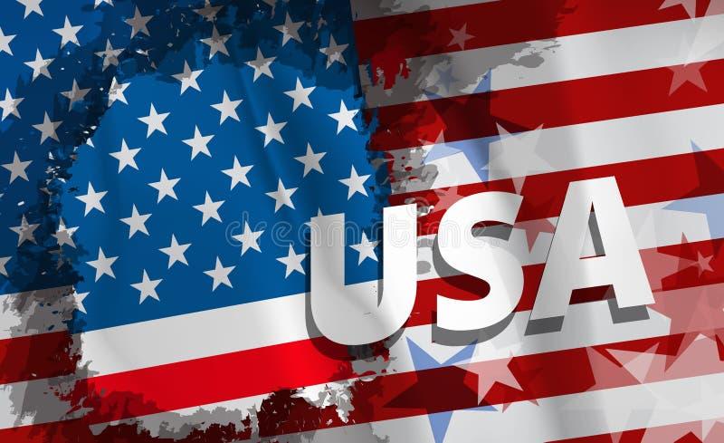 Drapeau national des Etats-Unis, vecteur Style grunge illustration stock