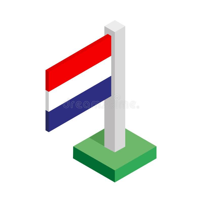 Drapeau national des Pays-Bas sur le mât de drapeau dessiné dans la vue isométrique photographie stock libre de droits