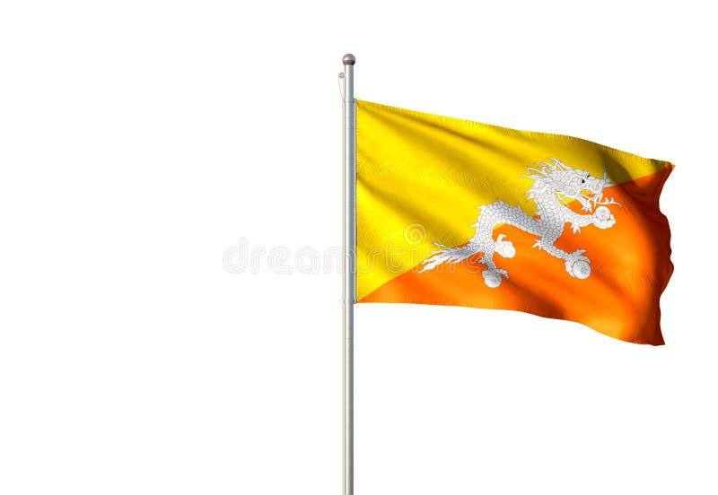 Drapeau national du Bhutan ondulant l'illustration 3d réaliste d'isolement de fond blanc illustration stock