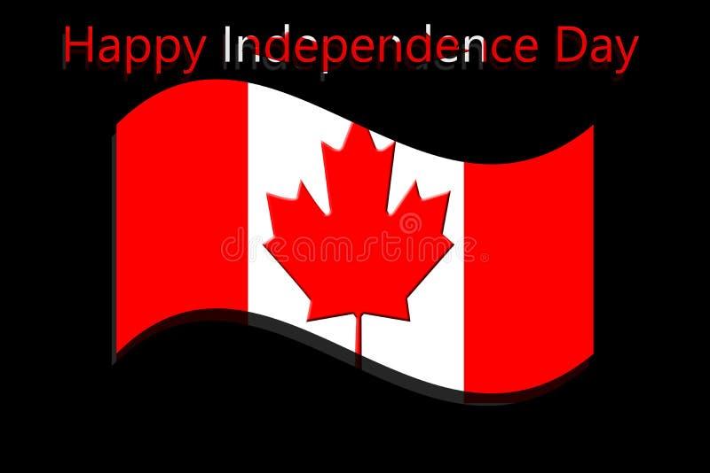 Drapeau national du Canada ondulant avec le Jour de la Déclaration d'Indépendance heureux écrit illustration stock