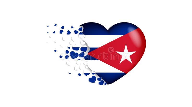 Drapeau national du Cuba dans l'illustration de coeur Avec amour au pays du Cuba Le drapeau national du Cuba piloter de petits co illustration de vecteur