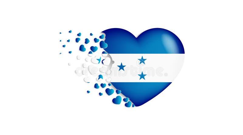 Drapeau national du Honduras dans l'illustration de coeur Avec amour au pays du Honduras Le drapeau national du Honduras piloter  illustration de vecteur