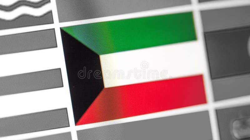 Drapeau national du Kowéit de pays Drapeau du Kowéit sur l'affichage, un effet de moire numérique photo libre de droits
