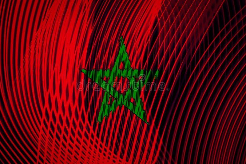 Drapeau national du Maroc sur le fond illustration libre de droits