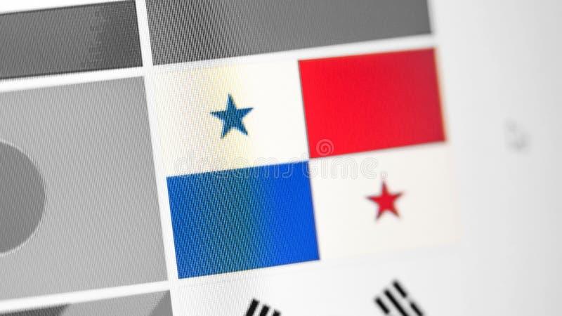 Drapeau national du Panama de pays Drapeau du Panama sur l'affichage, un effet de moire numérique photos stock