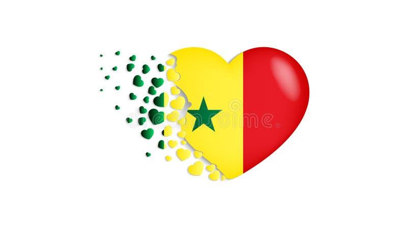 Drapeau national du Sénégal dans l'illustration de coeur Avec amour au pays du Sénégal Le drapeau national du Sénégal piloter de  illustration stock