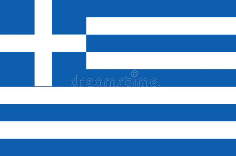Drapeau national grec, drapeau officiel de couleurs précises de la Grèce illustration libre de droits