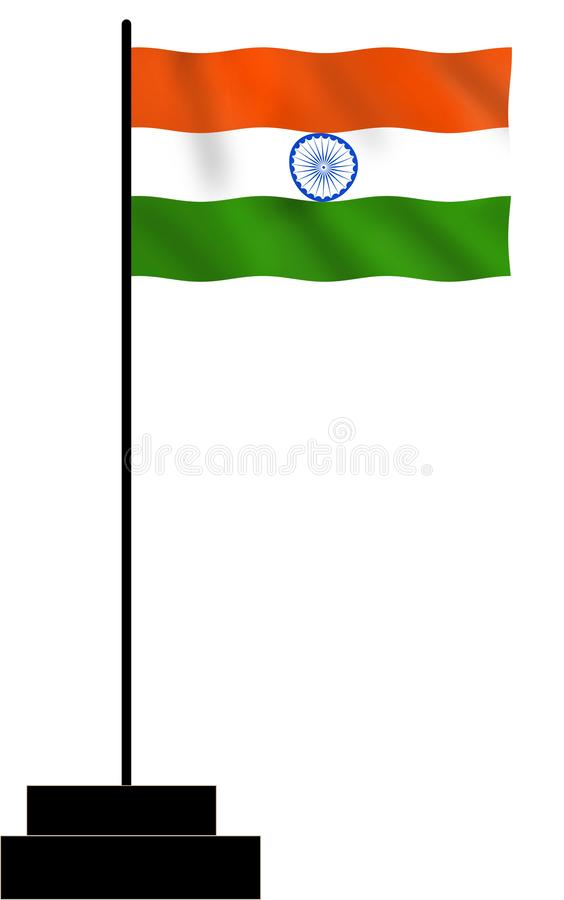 Drapeau national indien ondulant avec le mât illustration de vecteur