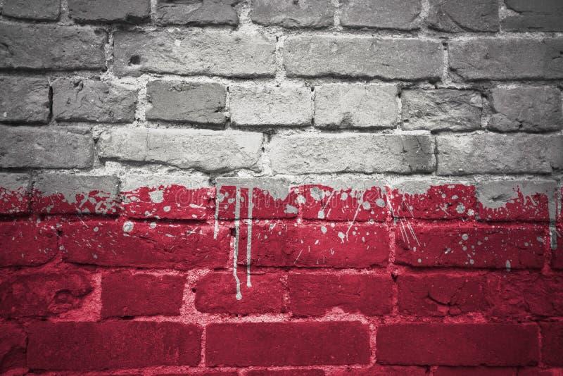 Drapeau national peint de la Pologne sur un mur de briques photographie stock