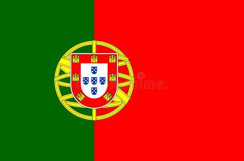 Drapeau national portugais Drapeau officiel de couleurs précises du Portugal illustration libre de droits