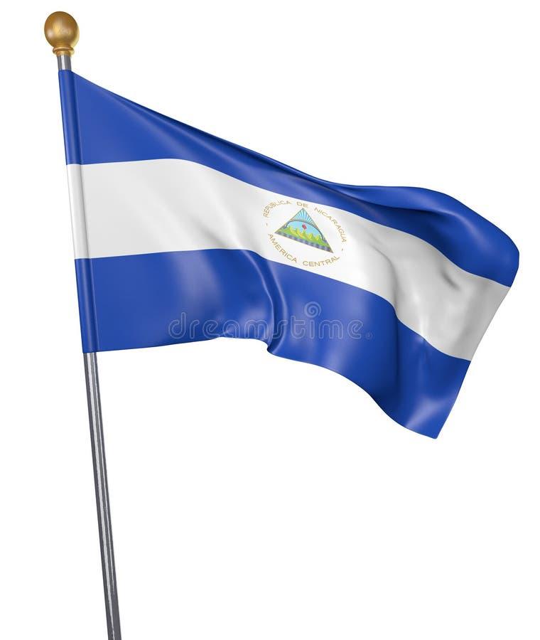 Drapeau national pour le pays du Nicaragua sur le fond blanc illustration stock