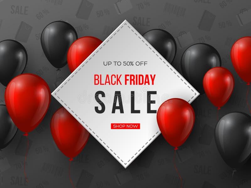 Drapeau noir de vente de vendredi ballons brillants réalistes rouges et noirs de 3d avec le texte dans le cadre Fond gris de modè illustration de vecteur