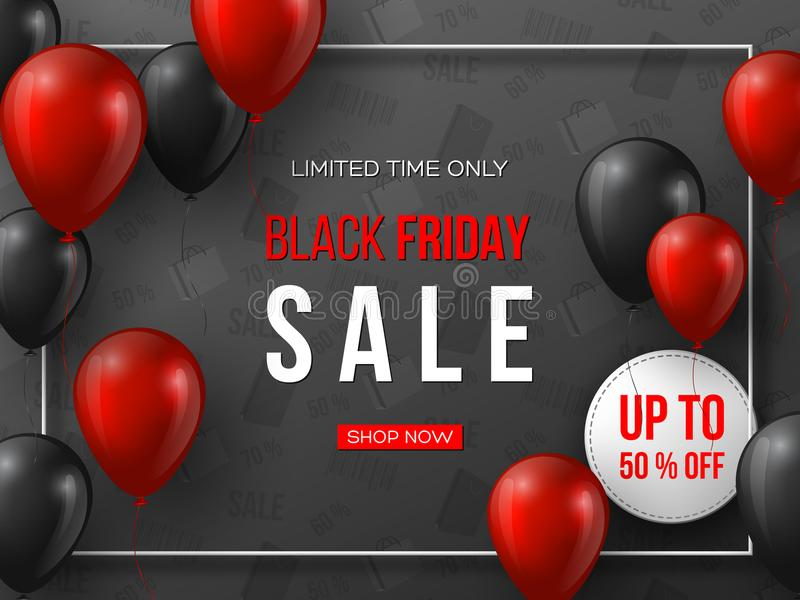 Drapeau noir de vente de vendredi les ballons brillants réalistes rouges et noirs de 3d avec le texte dans le cadre et la remise  illustration libre de droits
