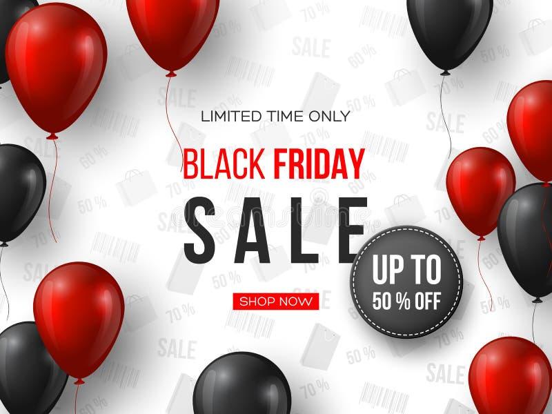Drapeau noir de vente de vendredi les ballons brillants réalistes rouges et noirs de 3d avec le texte et la remise étiquettent Mo illustration libre de droits
