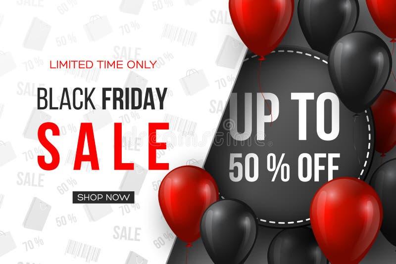 Drapeau noir de vente de vendredi les ballons brillants réalistes rouges et noirs de 3d avec le texte et la remise étiquettent Mo illustration de vecteur