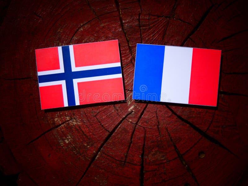 Drapeau norvégien avec le drapeau français sur un tronçon d'arbre d'isolement photos libres de droits