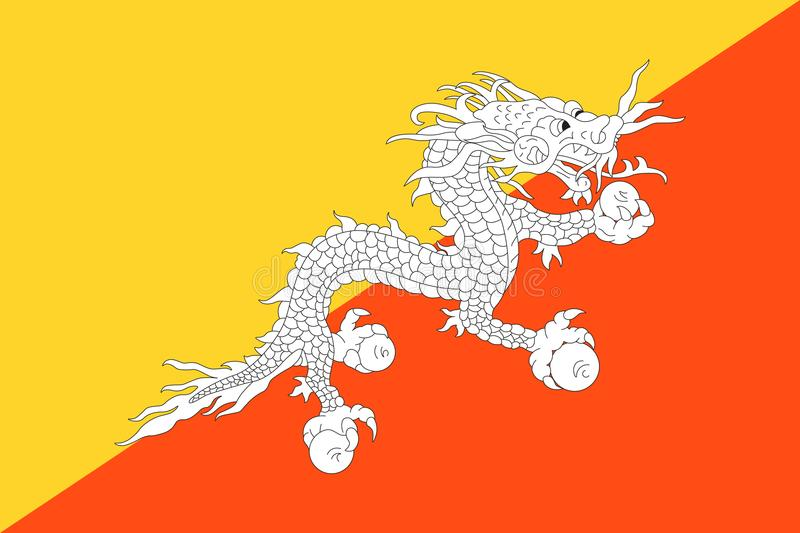 Drapeau officiel de vecteur du Bhutan illustration de vecteur