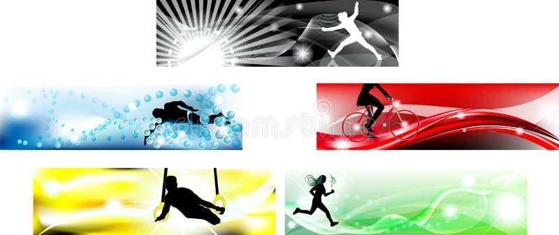 Drapeau olympique dans des cinq couleurs types illustration de vecteur