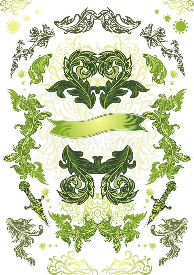 Drapeau orienté floral illustration de vecteur