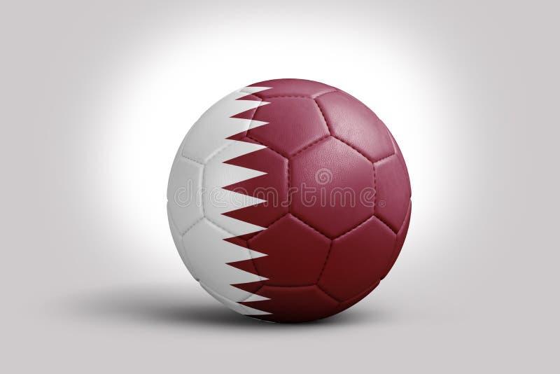 Drapeau péruvien sur la boule, rendu 3d Ballon de football dans l'illustration 3d Drapeau qatari sur la boule, rendu 3d Ballon de illustration libre de droits