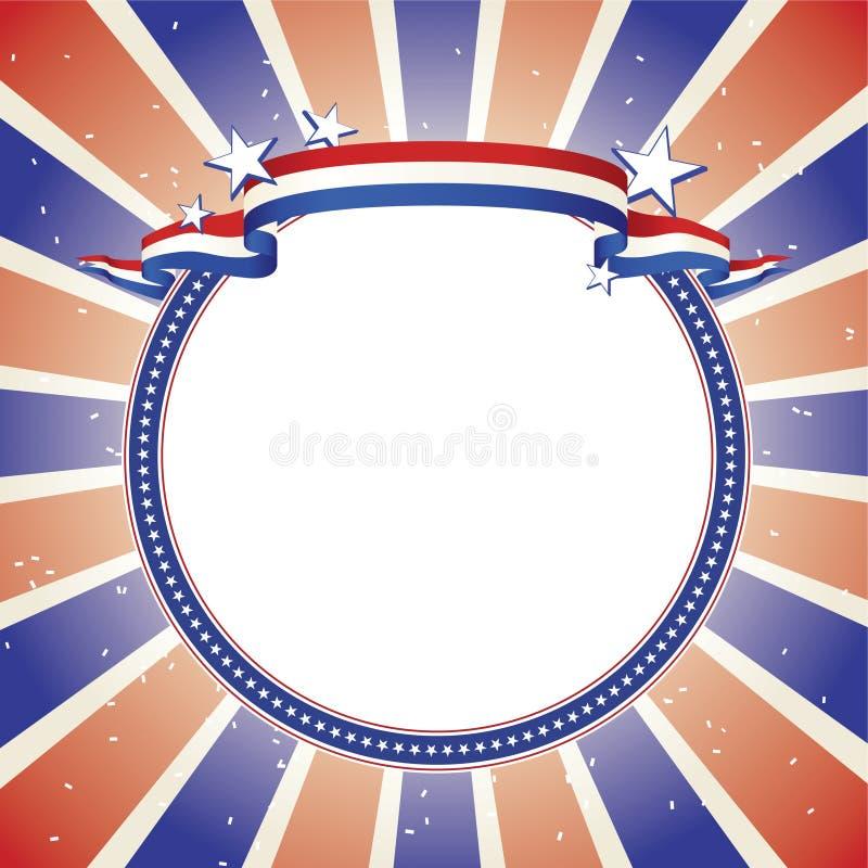 Drapeau patriotique sur le cercle rayé par étoile décorative illustration de vecteur