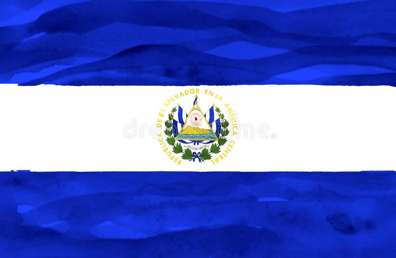 Drapeau peint du Salvador images libres de droits