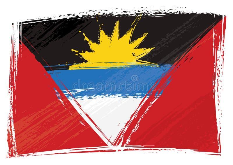 Drapeau peint grunge de l'Antigua-et-Barbuda illustration de vecteur