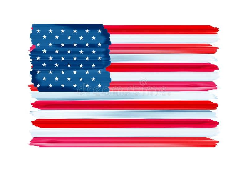 Drapeau peint par courses colorées américaines de brosse des Etats-Unis illustration de vecteur