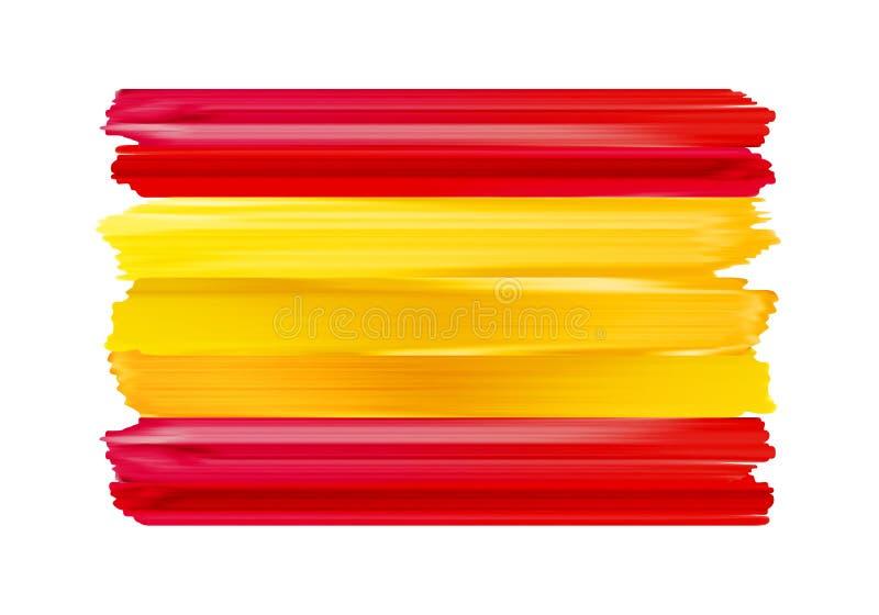 Drapeau peint par courses colorées de brosse de l'Espagne illustration stock